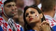 Kroatische Fans in Moskau beim Spiel Kroatien gegen England