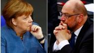 Haben noch viel zu besprechen: Kanzlerin Merkel und Herausforderer Martin Schulz