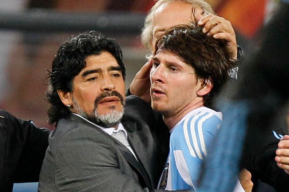 Maradona und Messi, 2010 in der Kombination Trainer und Star, Argentiniens berühmteste Fußballsöhne