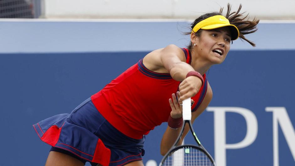 Tennis-Profi Emma Raducanu während ihres ersten Spiels bei den US Open in Flushing Meadows