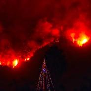 Weihnachten in Flammen: ein Christbaum im Vorgarten eines evakuierten Hauses.
