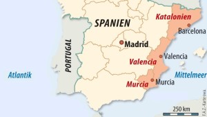 Spaniens Regionen fallen wie die Dominosteine