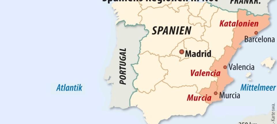 Spanien Regionen Karte.Klamme Finanzlage Spaniens Regionen Fallen Wie Die Dominosteine