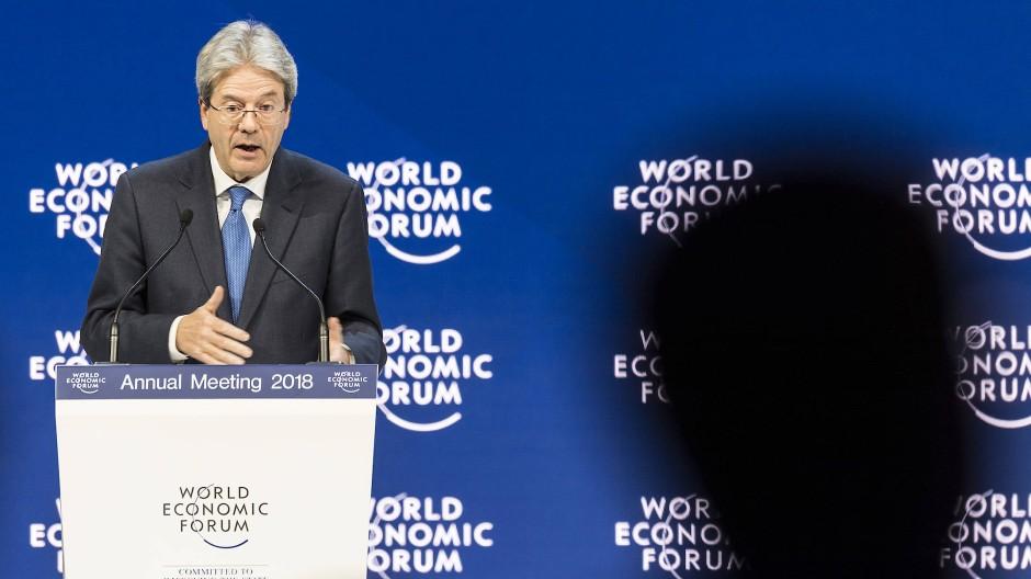 Paolo Gentiloni spricht auf dem Weltwirtschaftsforum in Davos.