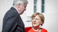 Antagonisten: Angela Merkel und Horst Seehofer am Dienstag beim Deutsch-Französischen Ministerrat auf Schloss Meseberg