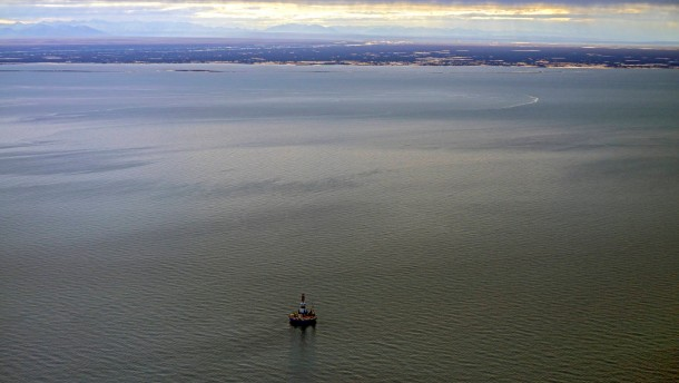 Shell Drilling Rig sets up near shore of Arctic Refuge, Alaska