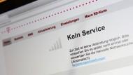 Störungsmeldung auf der Konfigurationsseite eines Telekom-Routers