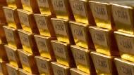 Goldbarren der Bundesbank, durchnumeriert.