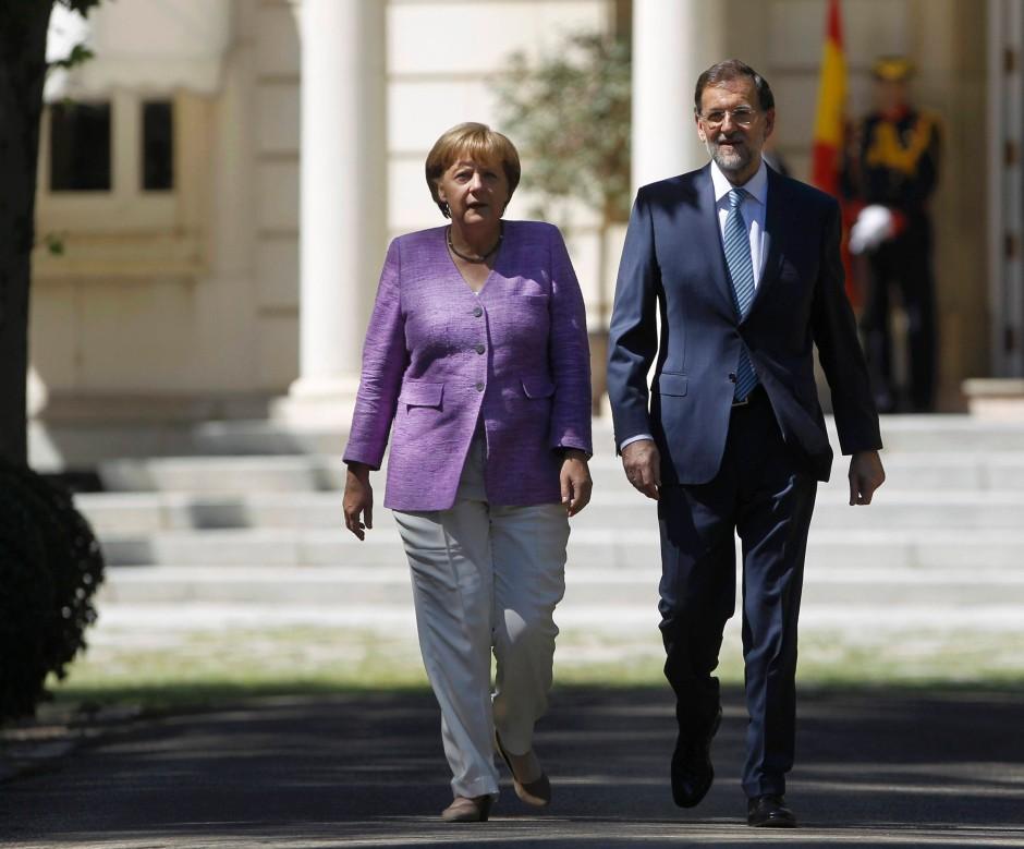 """Bundeskanzlerin Merkel und Spaniens Ministerpräsident Rajoy in Madrid: """"Zutiefst dem Schutz unserer gemeinsamen Währung verpflichtet"""""""