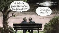 Romantische Idylle: Merkel und Schulz auf dem Weg zu einer Koalition.