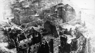 Trümmerlandschaft: Blick vom Domturm im März 1944.