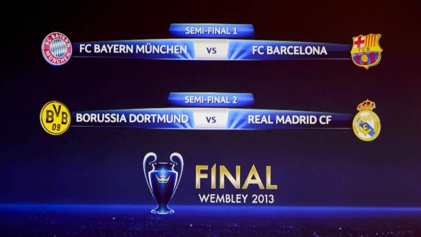 Bayern gegen Barcelona, Dortmund gegen Real