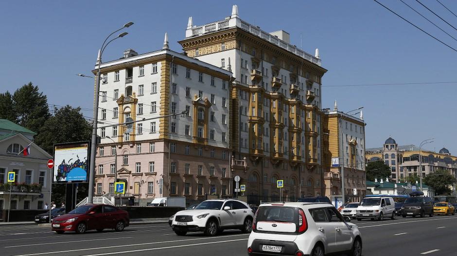 Das Gebäude der amerikanischen Botschaft in Moskau im August 2017