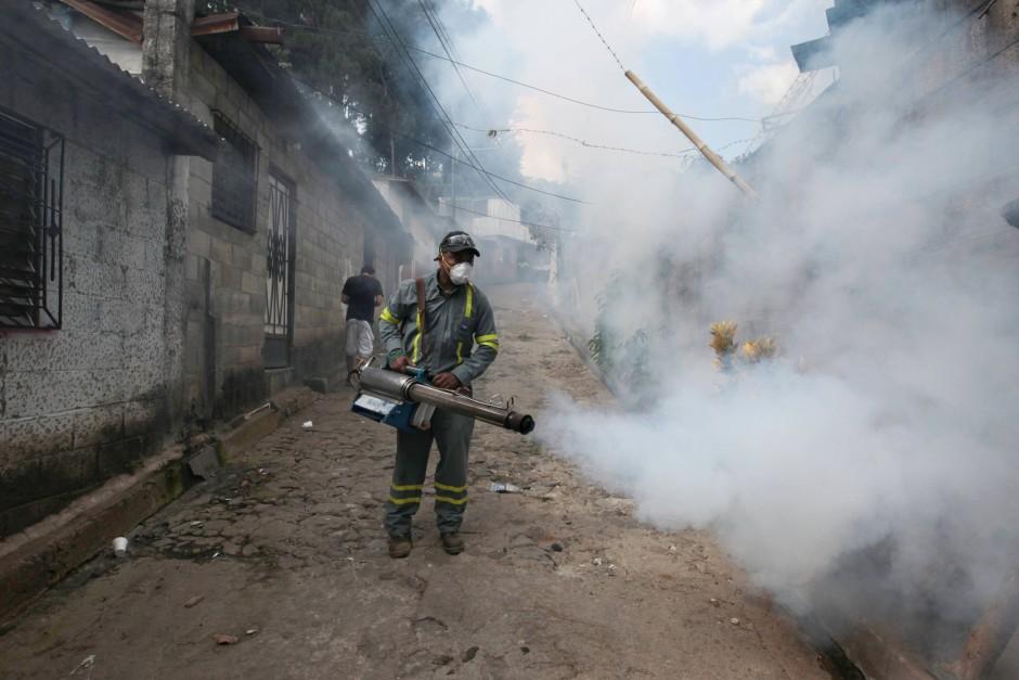 In El Salvador versprüht ein Mitarbeiter der städtischen Gesundheitsbehörde von Guadalupe Insektizide gegen die Zika-Mücke.
