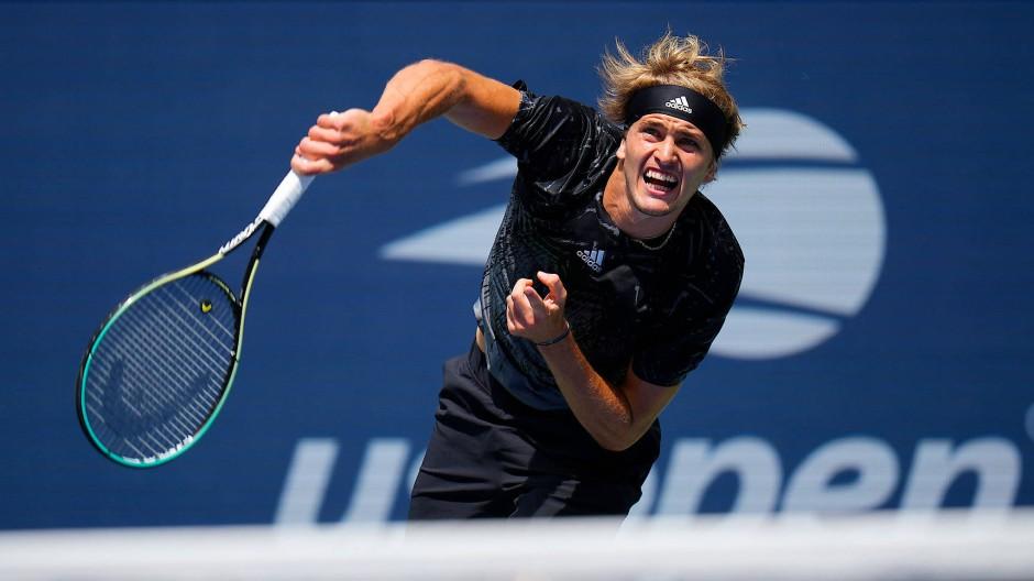 Äußerst souverän: Für Zverev war der Einzug in Runde zwei der US Open nicht so anstrengend, wie es dieses Bild von ihm vermuten lässt.
