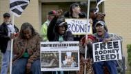 Demonstranten fordern im texanischen Bastrop die Freilassung von Rodney Reed.