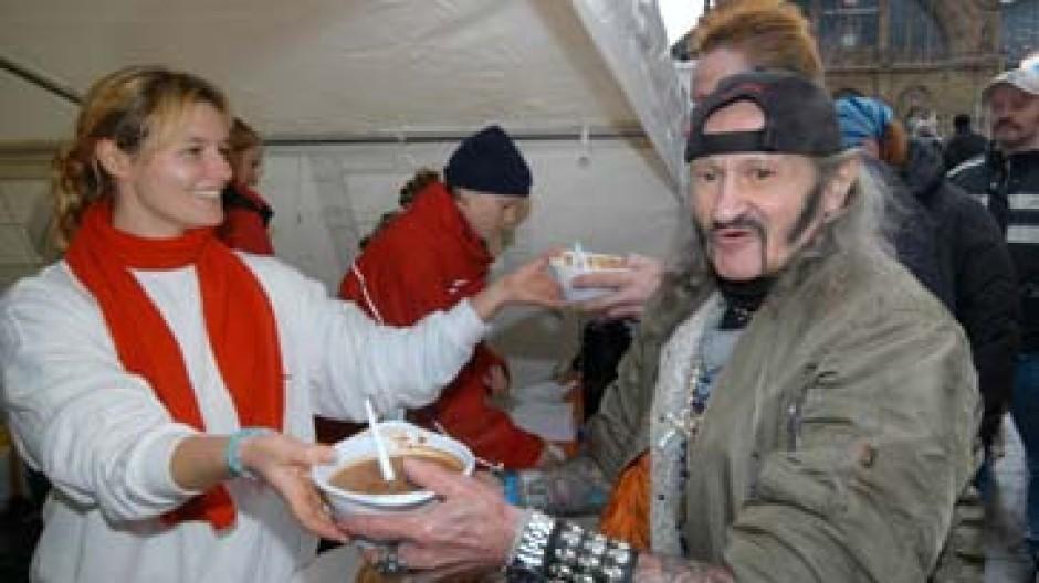 Heiße Suppe in der kalten Jahreszeit