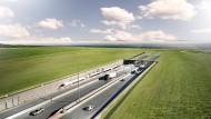 Visualisierung des Tunneleingangs auf der dänischen Seite in Rodbyhavn
