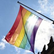 Eine Regenbogenfahne am Rathaus in Hamburg