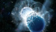 Künstlerische Darstellung zweier kollidierender Neutronensterne