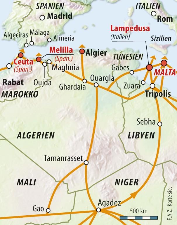 Die Routen (orange) der Flüchtlinge nach Europa