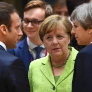 Bundeskanzlerin Merkel mit der britischen Premierministerin May und dem französischen Präsidenten Macron