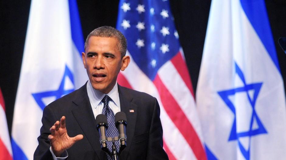 Ist weiter für eine Zwei-Staaten-Lösung: Obama während seiner Rede im International Convention Centre in Jerusalem
