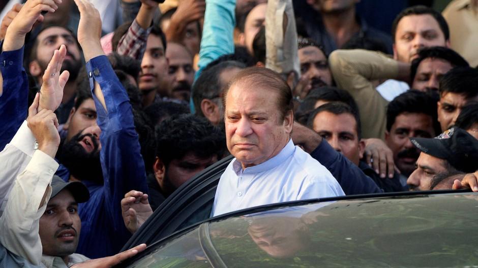 Der ehemalige Regierungschef Nawaz Shrif in Lahore, Pakistan