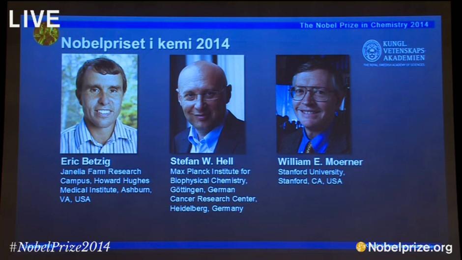 Ausgezeichnet: die Forscher Eric Betzig (Vereinigte Staaten), Stefan Hell (Deutschland) und William Moerner (Vereinigte Staaten, von links)