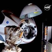 Erfolgreich angekommen: Die Raumkapsel beim Andocken an die Internationale Raumstation (ISS).