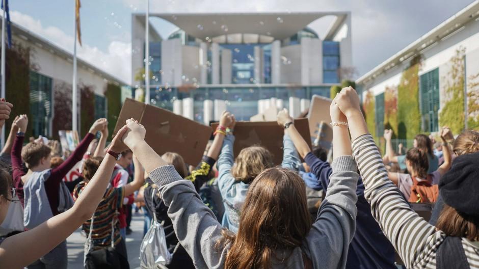 Protest am Freitag vor dem Kanzleramt in Berlin