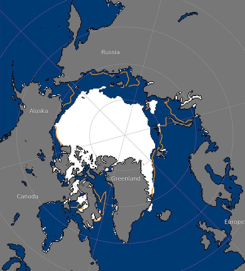 Diese Grafik zeigt die Ausdehnung des Meereises in der Arktis am 26. Juli 2020 im Vergleich zum Median der Jahre 1981 bis 2010.