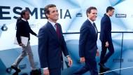 Die Spitzenkandidaten in Spanien (v.l.n.r.): Pablo Iglesias (Unidas Podemos), Pablo Casado (PP), Albert Rivera (Ciudadanos) und Premierminister Pedro Sanches (PSOE)