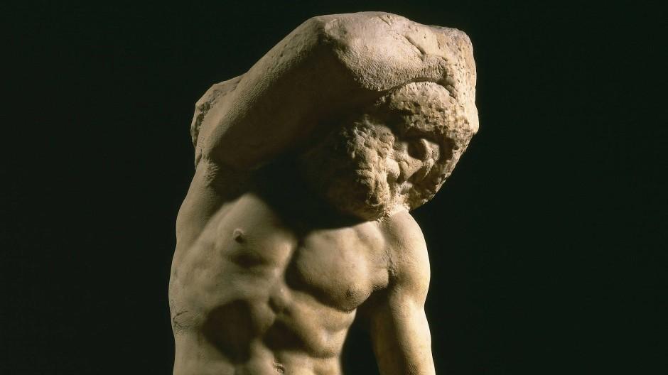 """Leben zwischen Stein und Körper: Michelangelos """"Bärtiger Sklave"""" für das geplante Grabmal von Papst Julius II."""