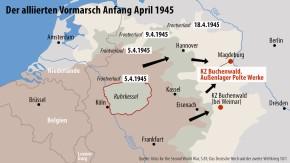 Karte / Der alliierten Vormarsch Anfang April 1945