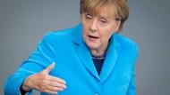 Viel Gefühl, wenig Politik: Angela Merkel während der Generaldebatte im Bundestag.