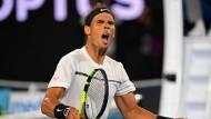 Nach fünf Stunden endlich die Erlösung: Rafael Nadal siegt in den Australian Open gegen den bulgarischen Gegner Grigor Diomitrow.