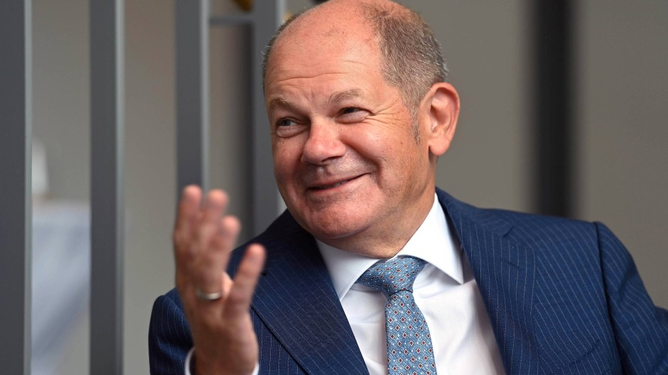 Kanzlerkandidat Scholz am Donnerstag beim Besuch einer Weizenfirma in Hamm.