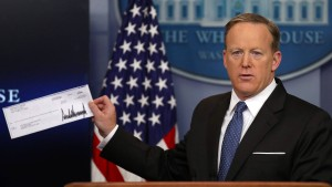 Ein Scheck vom Präsidenten