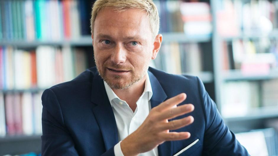 Der FDP-Vorsitzende Christian Lindner beim Interview in der Berliner F.A.Z.-Redaktion