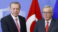 Recep Tayyip Erdogan und Jean Claude Juncker im Oktober letzten Jahres in Brüssel.