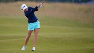 Lewis plays approach shot to fifth hole during fourth round of Women's British Open golf championship in Scotland