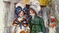 """""""Immer gingen sie Arm in Arm"""": Catherine Morland und Isabella Thorpe im fünften Kapitel von """"Northanger Abbey"""", illustriert von Charles Edmund Brock"""