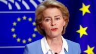 Ursula von der Leyen am 10. Juli bei einem Auftritt vor der Presse in Brüssel