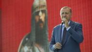 Der türkische Staatspräsident Recep Tayyip Erdogan bei einer Gedenkveranstaltung an die Schlacht von Manzikert im Jahr 1071 am Sonntag im Osten der Türkei