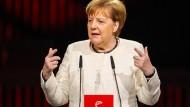 Angela Merkel am Sonntagabend bei der Eröffnung der Hannover Messe.