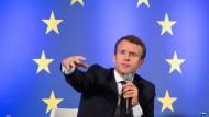 Frankreichs Staatspräsident Emmanuel Macron spricht am 10. Oktober in Frankfurt am Main an der Goethe-Universität.