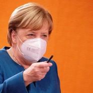 Angela Merkel vor der Kabinettssitzung am Mittwochmorgen