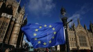Eine Fahre der Europäschen Union weht am Freitag vor den Houses of Parliament in London, die der Sitz der britischen Regierung sind.