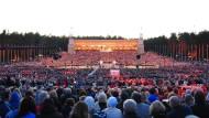 Rund 40.000 Mitwirkende kamen im Juli 2018 zum Sängerfest nach Riga. Hier ein Bild vom Abschlusskonzert